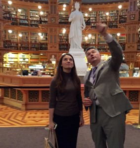 James Bezan shows Yulia around the parliament library.